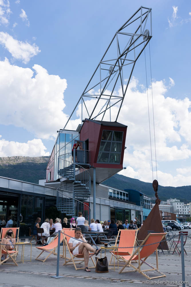 The restaurant is located in this old crane!