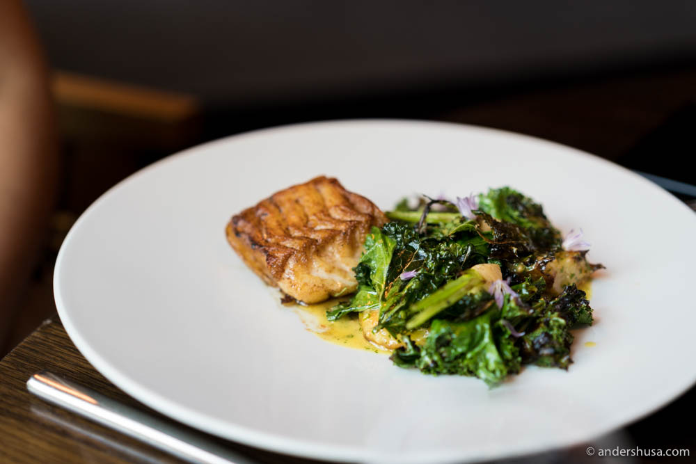 Pan-fried cod, grilled kale & mustard sauce