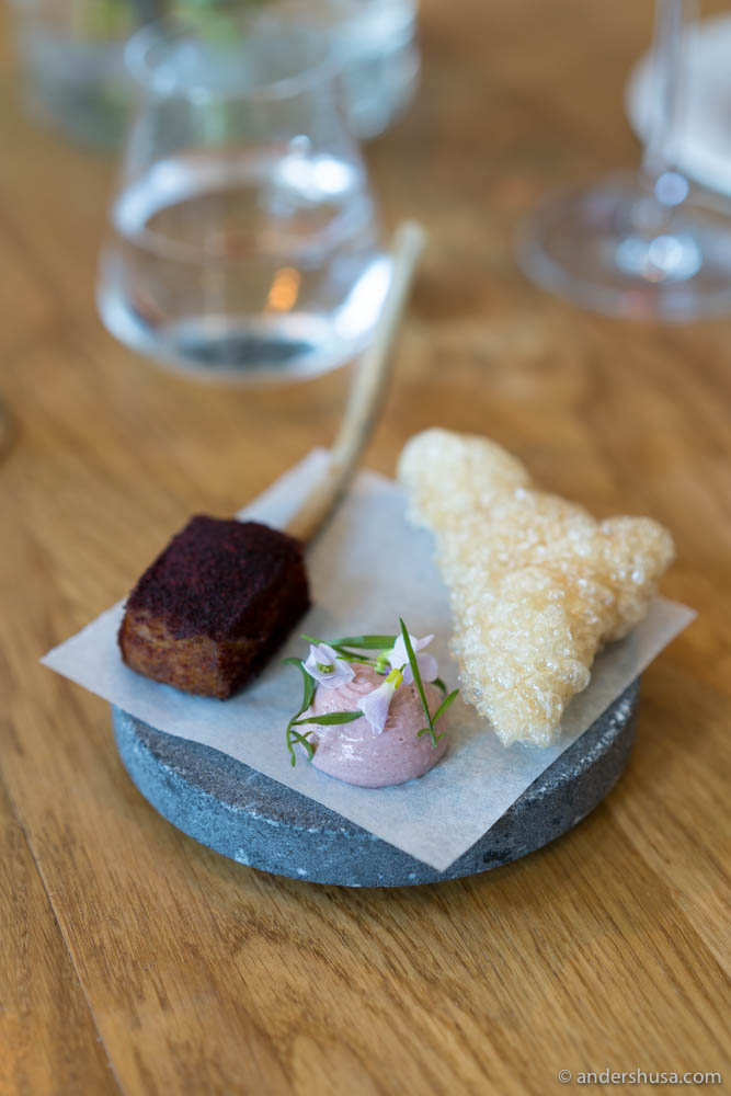 Lollipop – Mangalitsa pork, pork crackling, and dip of blackcurrants