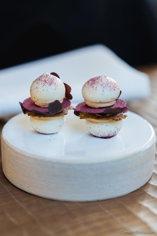 Grape macarons, whipped foie gras, condensed port wine, Danish rye & hibiscus
