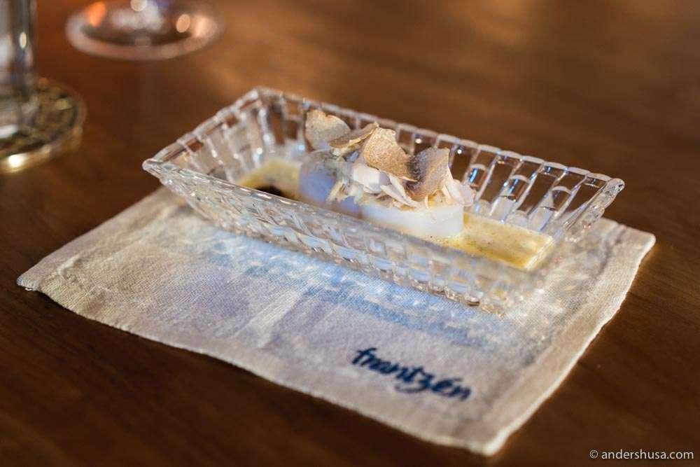 Baked turbot, white Alba truffle, beurre blanc with Matsutake mushroom, kalamansi vinegar & walnut