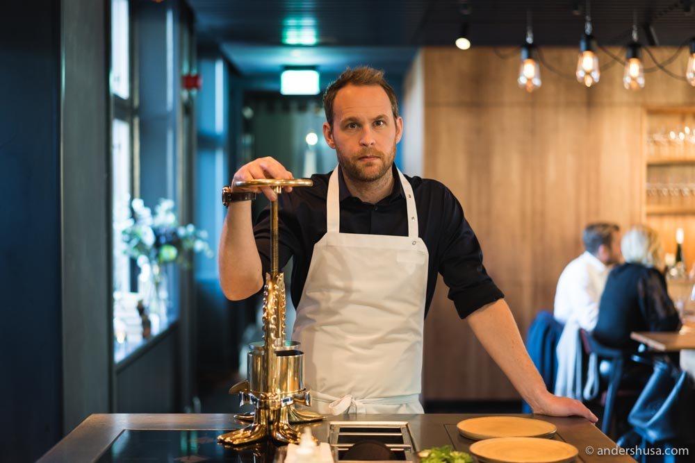 Chef patron Björn Frantzén and his duck press