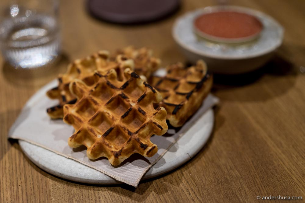 The Belgian waffles at Barr