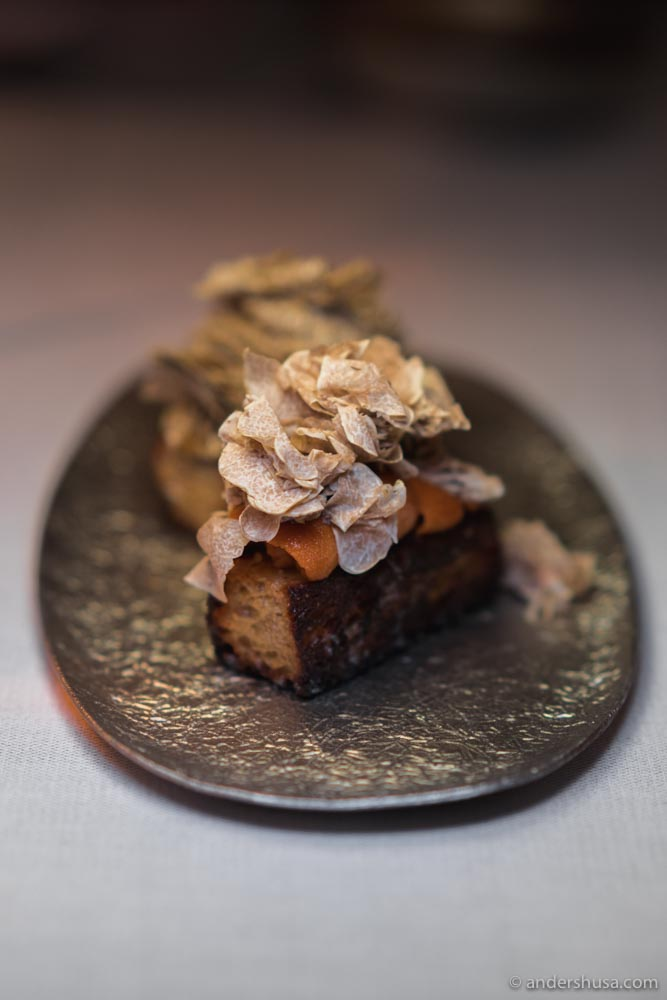 Sea urchin on French toast with white truffle at Zén