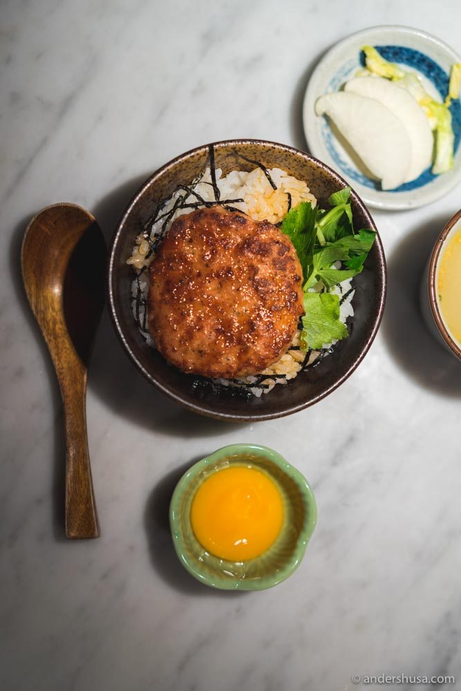 Tsukune (chicken meatball) & egg yolk