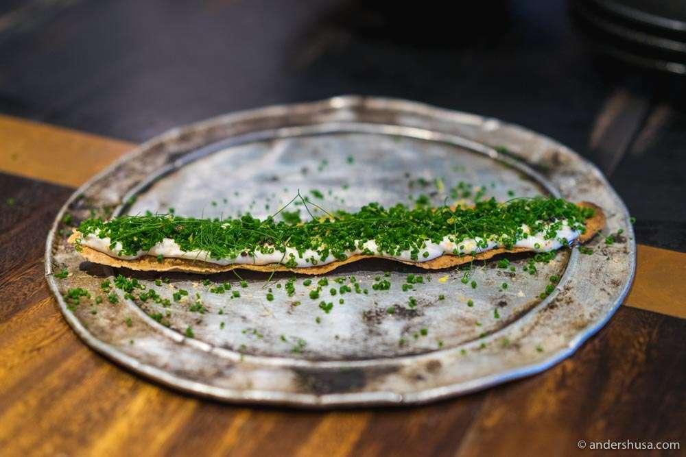 Wafer thin grissini and taramasalata