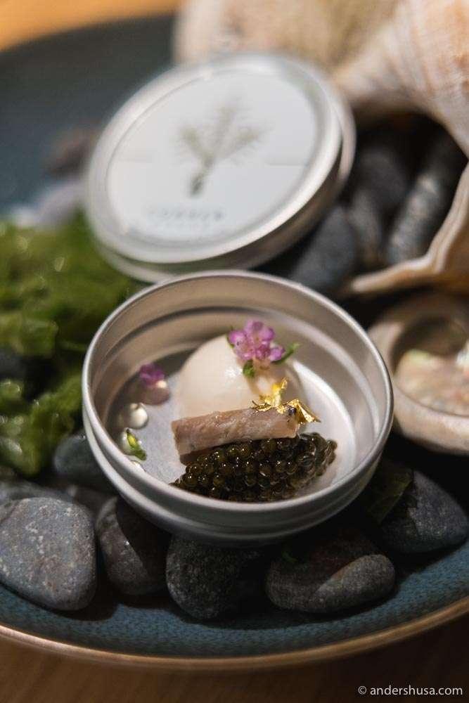 Smoked eel, yuzu & caviar