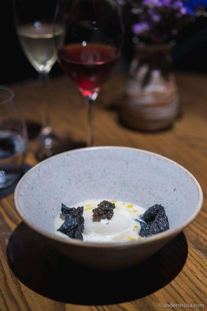 The best dish – white asparagus, burrata ice cream, charcoal cracker & caviar.