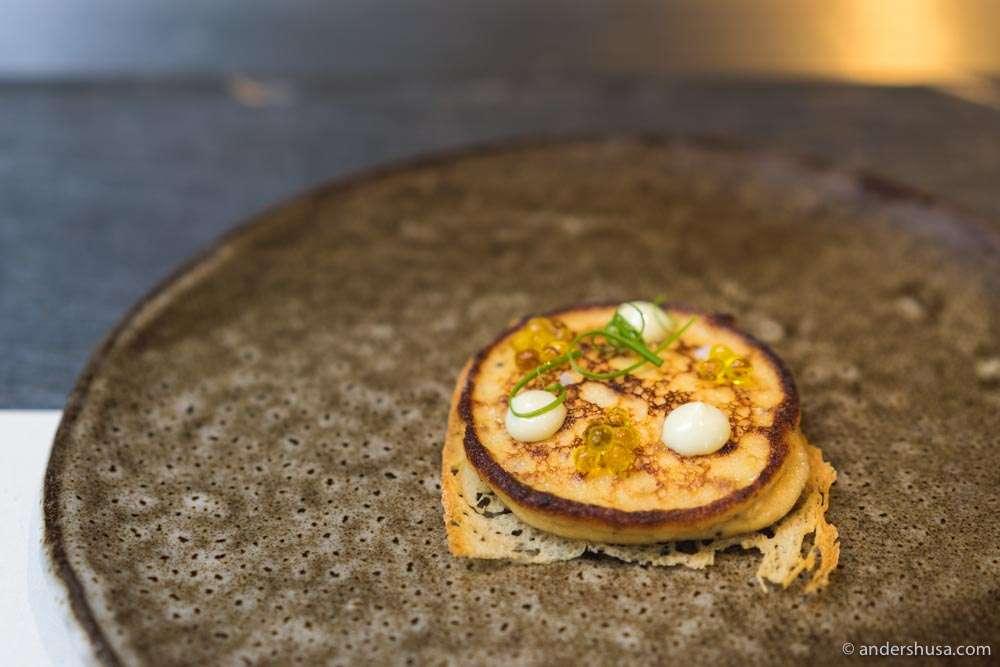 "Esquina's Spanish omelette – confit onion, potato, and olive oil ""caviar ."""