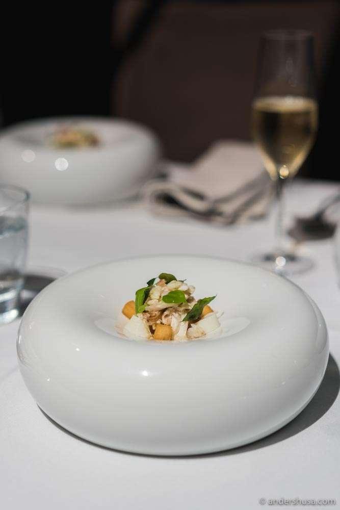 Chef Han Liguang's take on Singapore chili crab. Crab, strawberries, chili ice cream, egg white & salted mackerel.