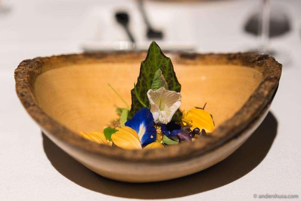 "Labyrinth ""rojak"" salad – Edible Garden City herbs, natural stingless bee honey & jackfruit sorbet"