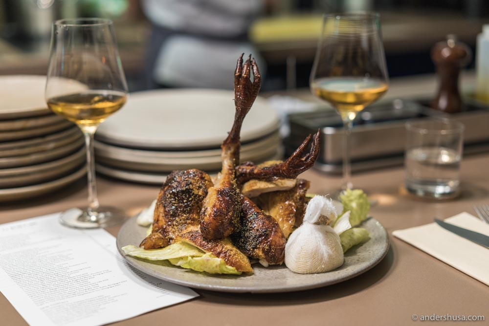 Whole-roasted heritage chicken, potato, and fennel pollen.