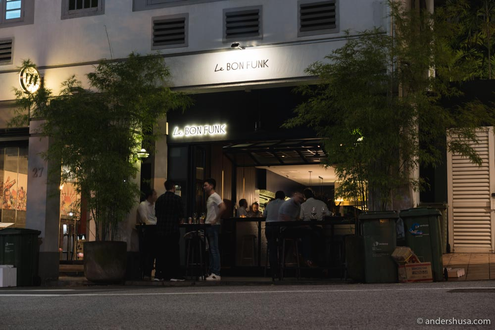 Le Bon Funk is located on Club Street in central Singapore