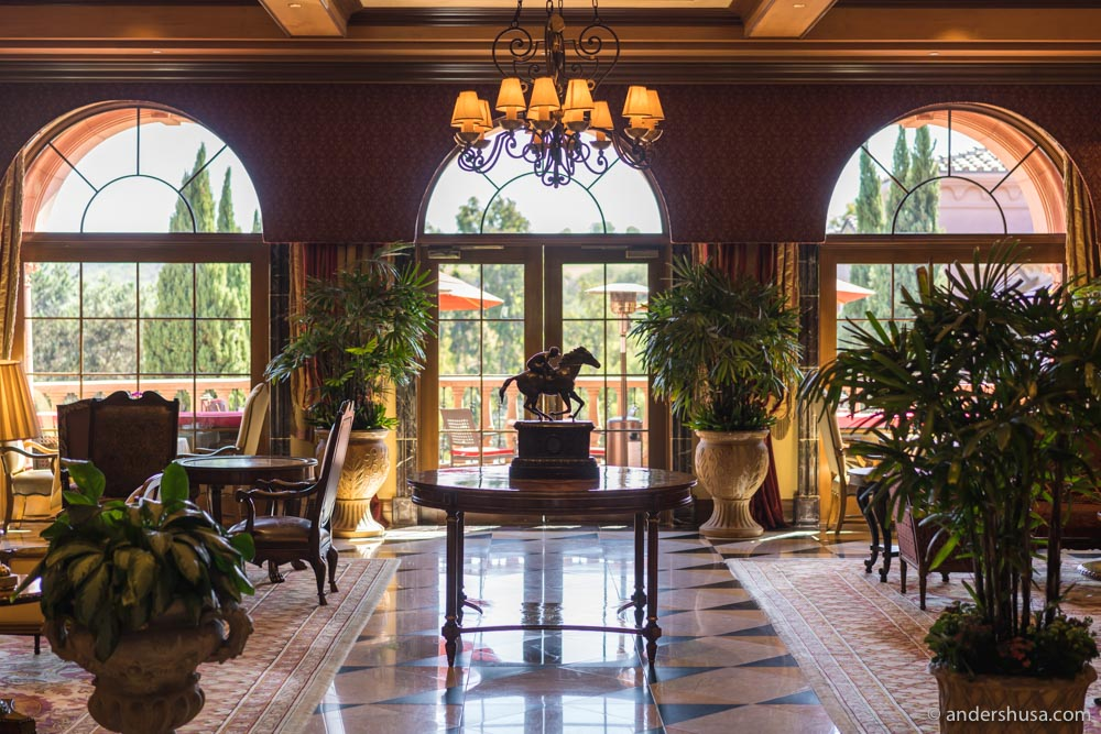 The Fairmont Grand Del Mar's lobby pays respect to the nearby Del Mar racetracks.