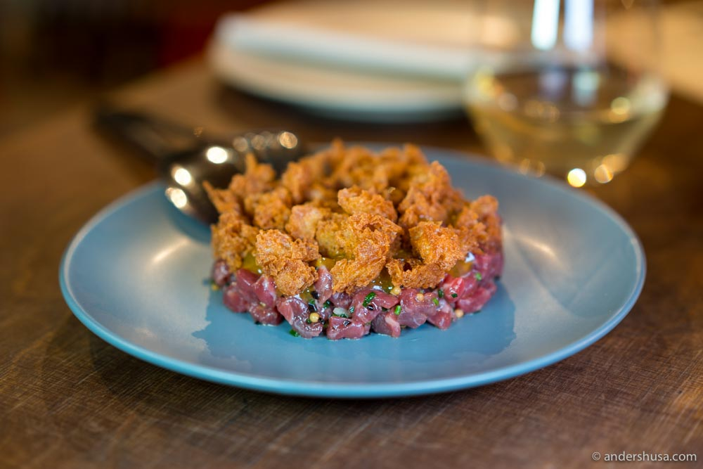 Beef tartare with sourdough croutons.