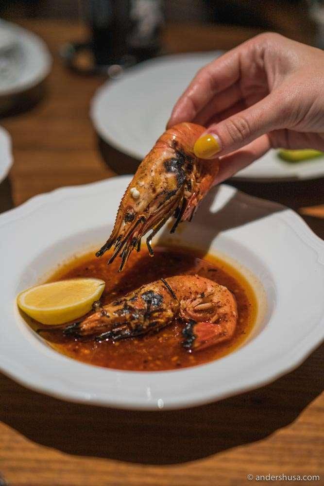 Grilled spot prawns.
