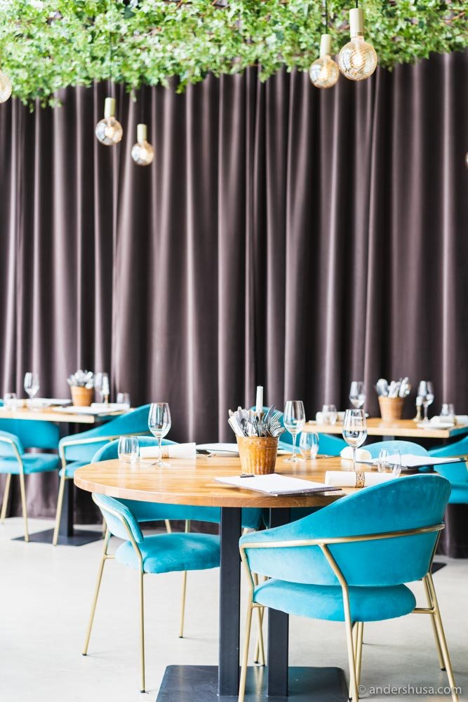 Kraft Bodega's dining room dominated by bright blue chairs, brass details, and raw wood.