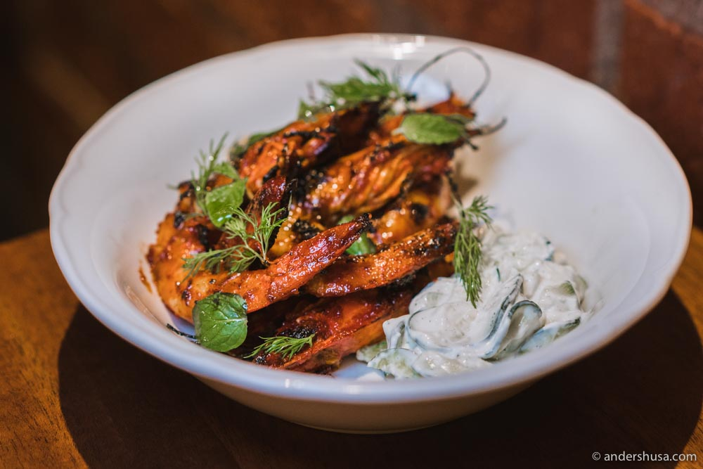 At no. 12 are the grilled harissa prawns from Bavel in Los Angeles, USA.