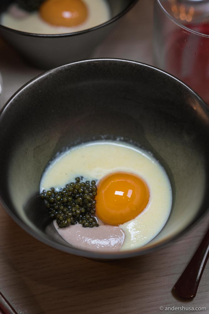 At no. 15 is the corn soup with caviar from Kato in Los Angeles, USA.