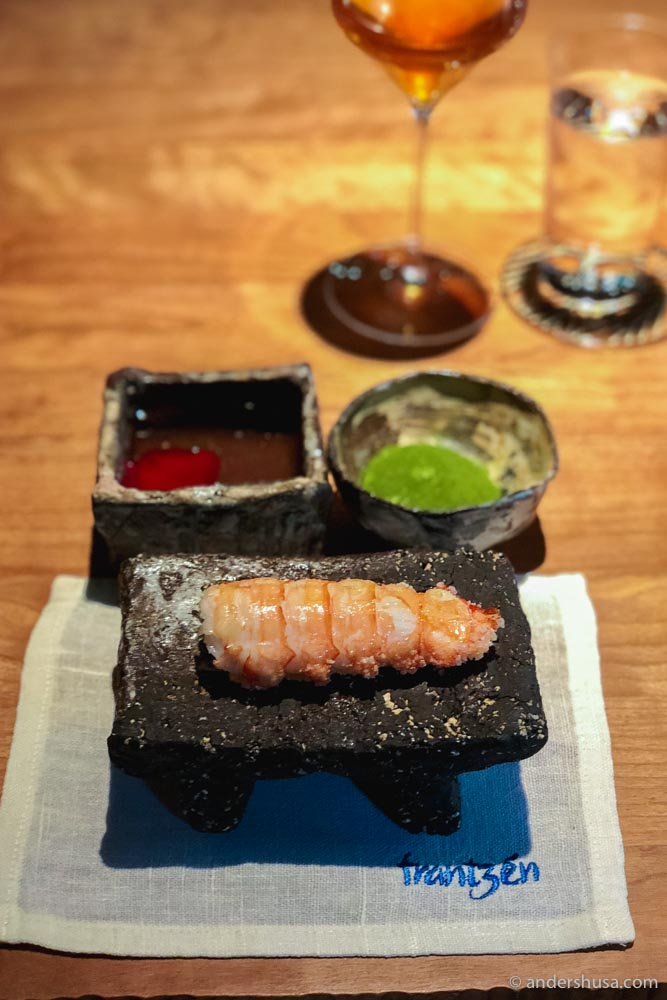 The best dish of 2019 was this langoustine with crispy rice from Frantzén in Stockholm, Sweden!
