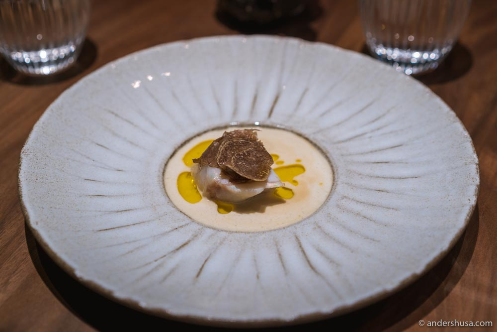 At no. 3 is the monkfish with white truffle from Re-naa in Stavanger, Norway.