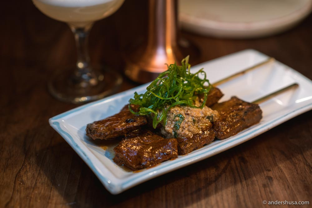 Corazon Anticucho – beef heart skewers with feta cheese and walnut sauce.