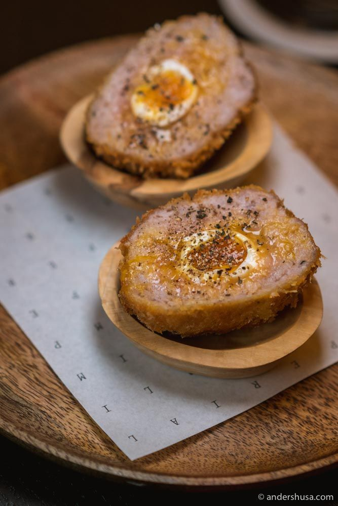 Scotch egg with quail eggs.