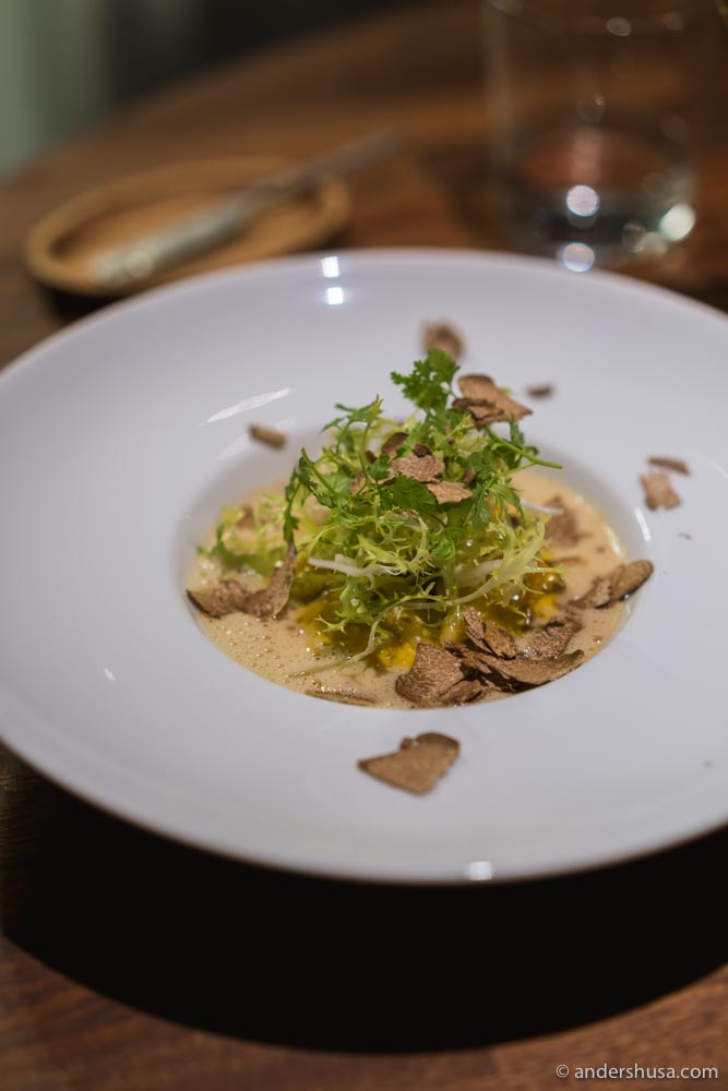 Pumpkin and chanterelle puntalette with white truffle