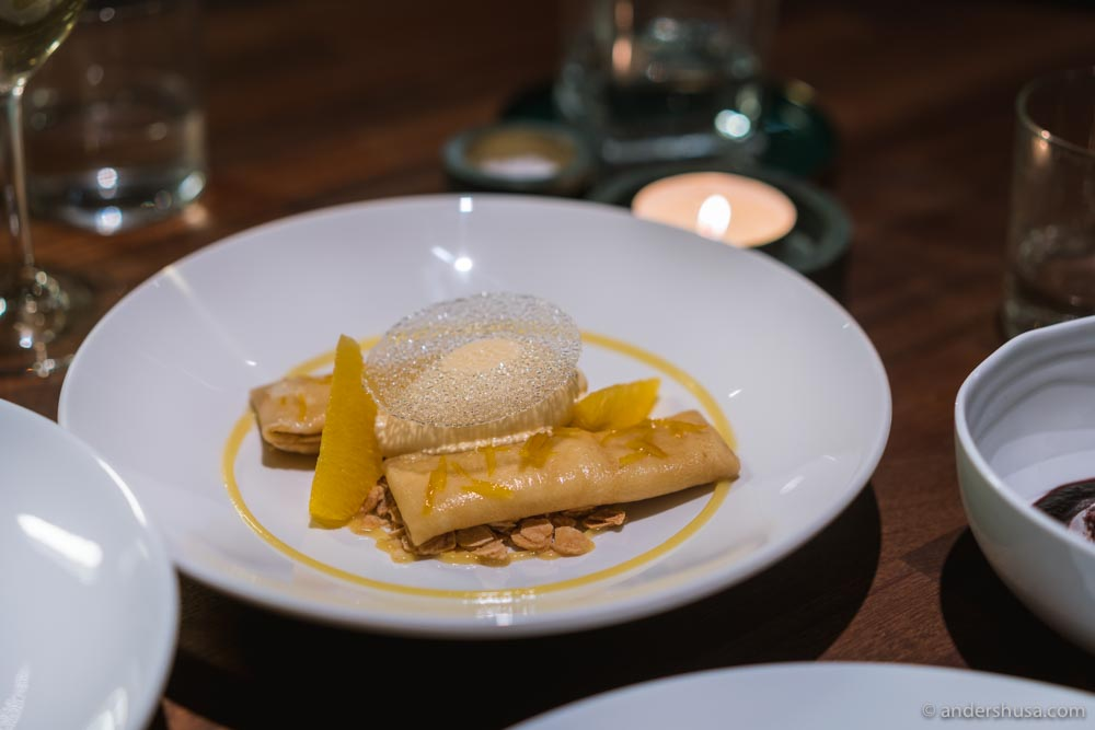 Pancakes with oranges, almonds, and apricot sorbet