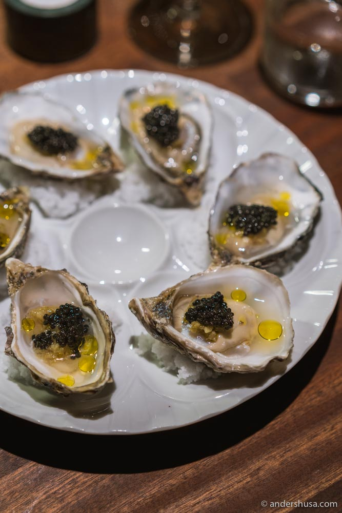 Papillon oysters with pickled elderflowers and Rossini caviar