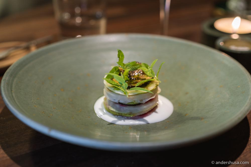 Vegetable mille feuille with horseradish