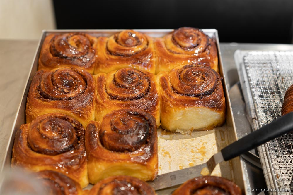 Cinnamon buns are sometimes available at Alice.