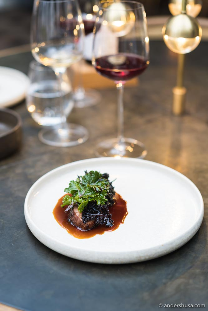 Iberico pork with fermented sprouts, pear relish, and pork shank sauce