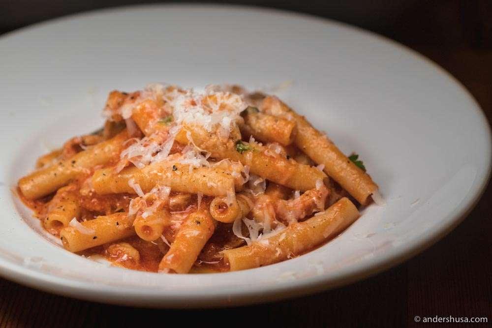 Handmade ziti pasta with tripe ragu.