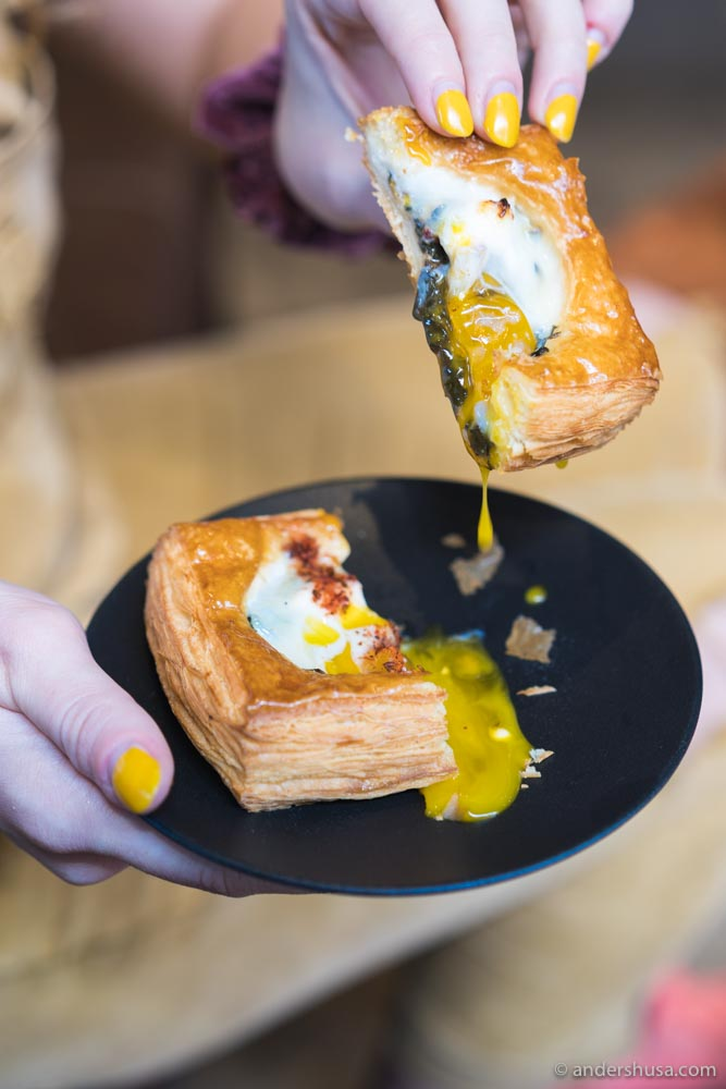 The toad-in-a-hole – a croissant pocket with an egg inside.