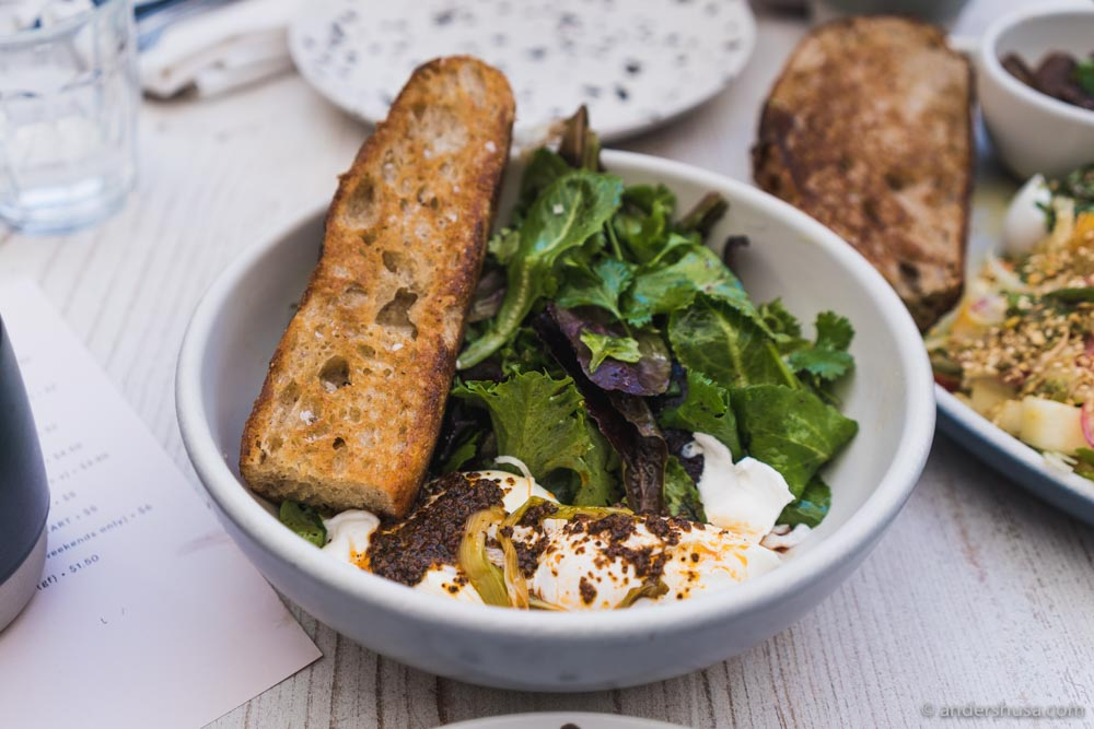 Turkish Eggs – poached eggs, garlicky yogurt, charred scallions, lemony salad, and cornmeal focaccia.
