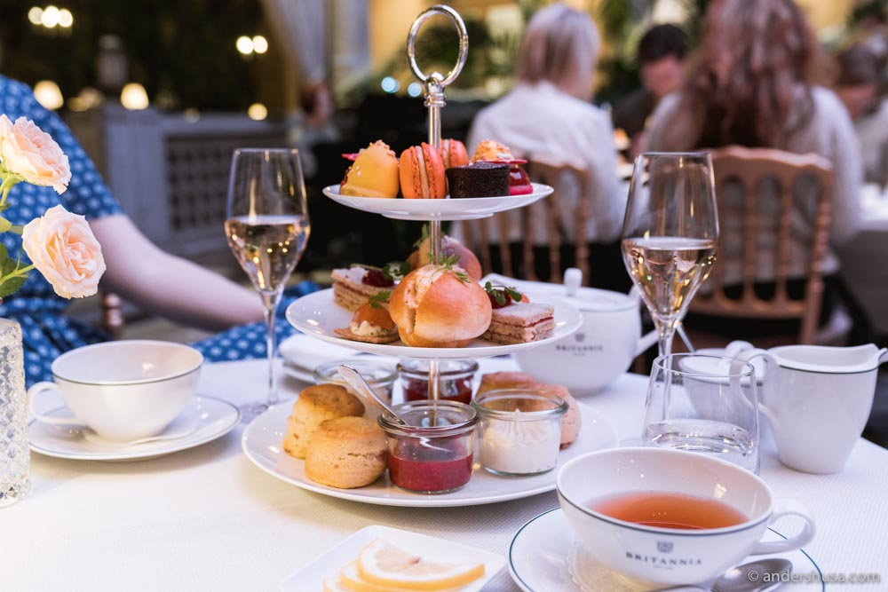 Afternoon tea in the Palm Court of Britannia Hotel.
