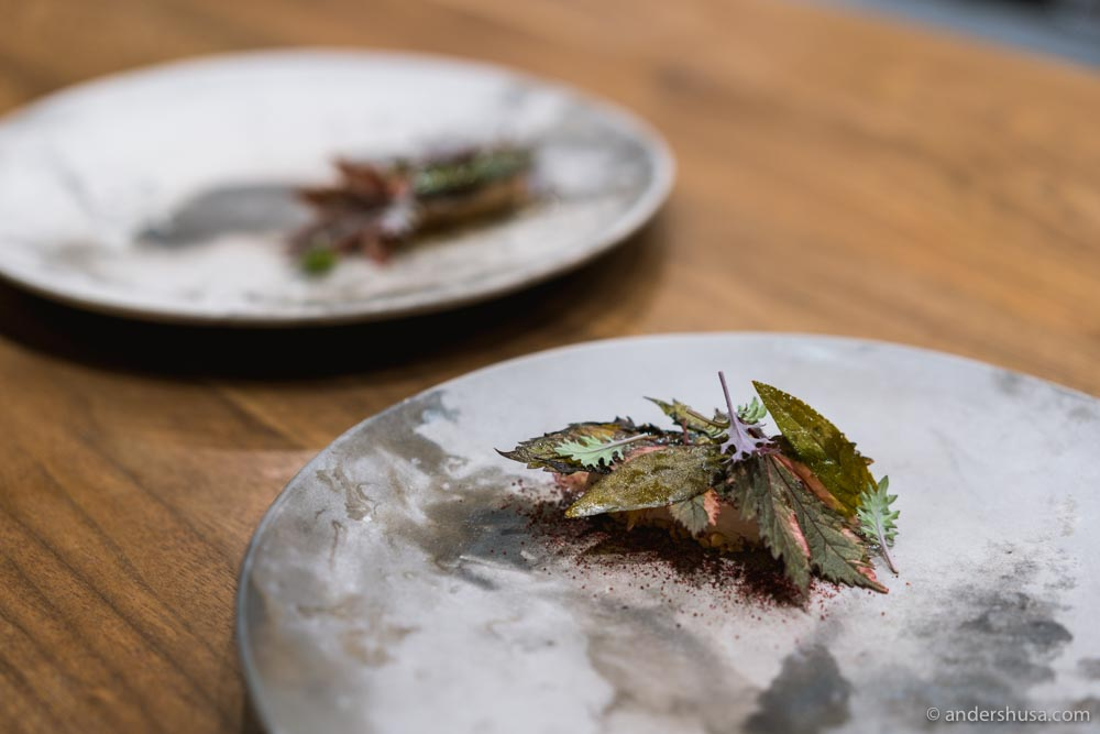 """""""Autumn leaves"""" – peanuts, duck liver mousse, fermented shiso, and shiso leaves."""