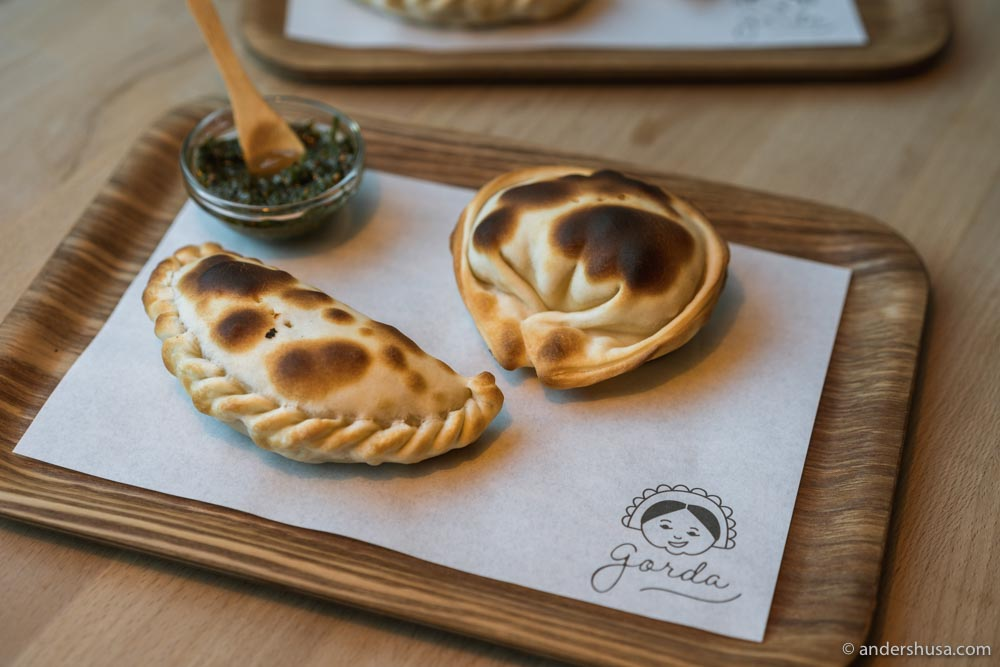Snack-sized empanadas, made by hand in Vesterbro.
