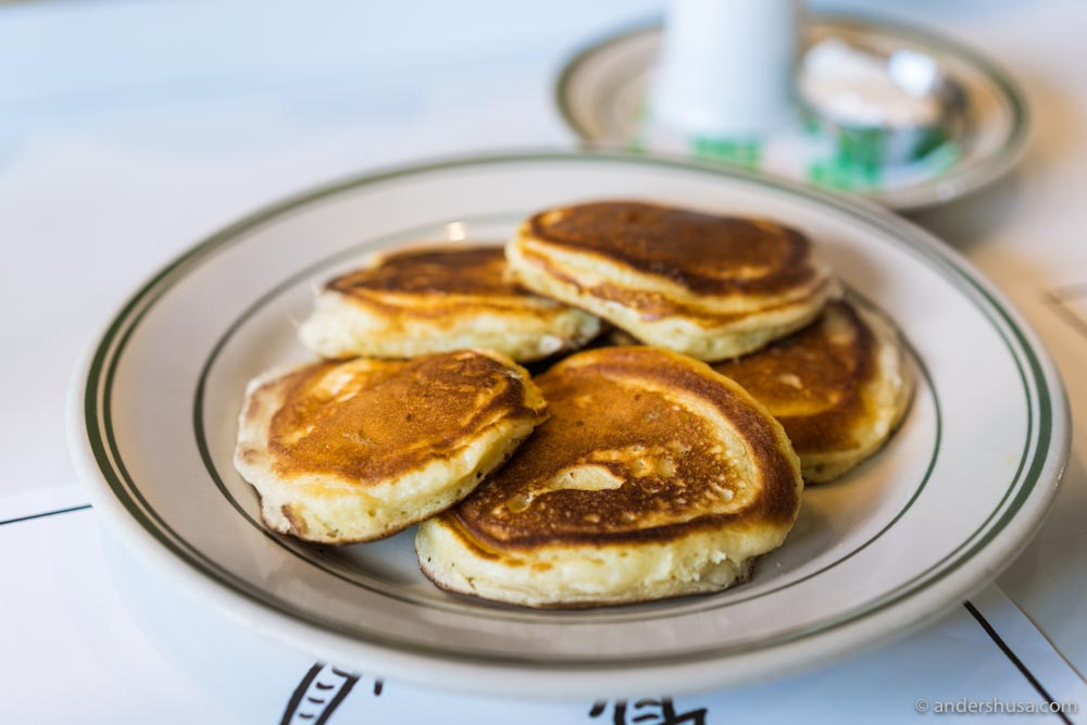 Buttermilk pancakes with salted butter and maple syrup.