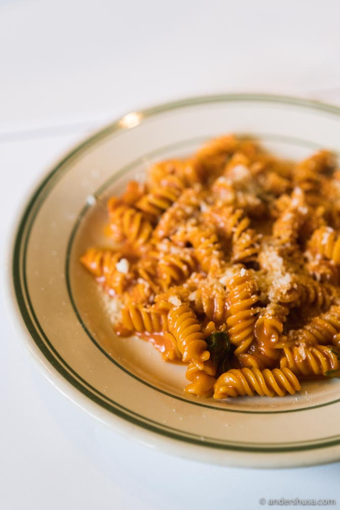 Jon and Vinny's signature spicy fusilli pasta, with vodka sauce, basil, and parmesan.