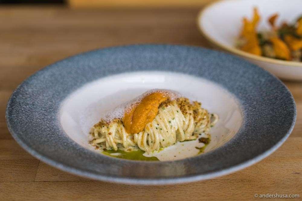 Kali's signature sea urchin pasta – spaghetti with uni, bread crumbs, and ricotta whey.