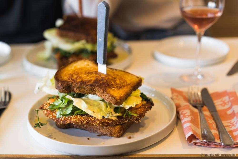 The off-menu fried chicken schnitzel sandwich.