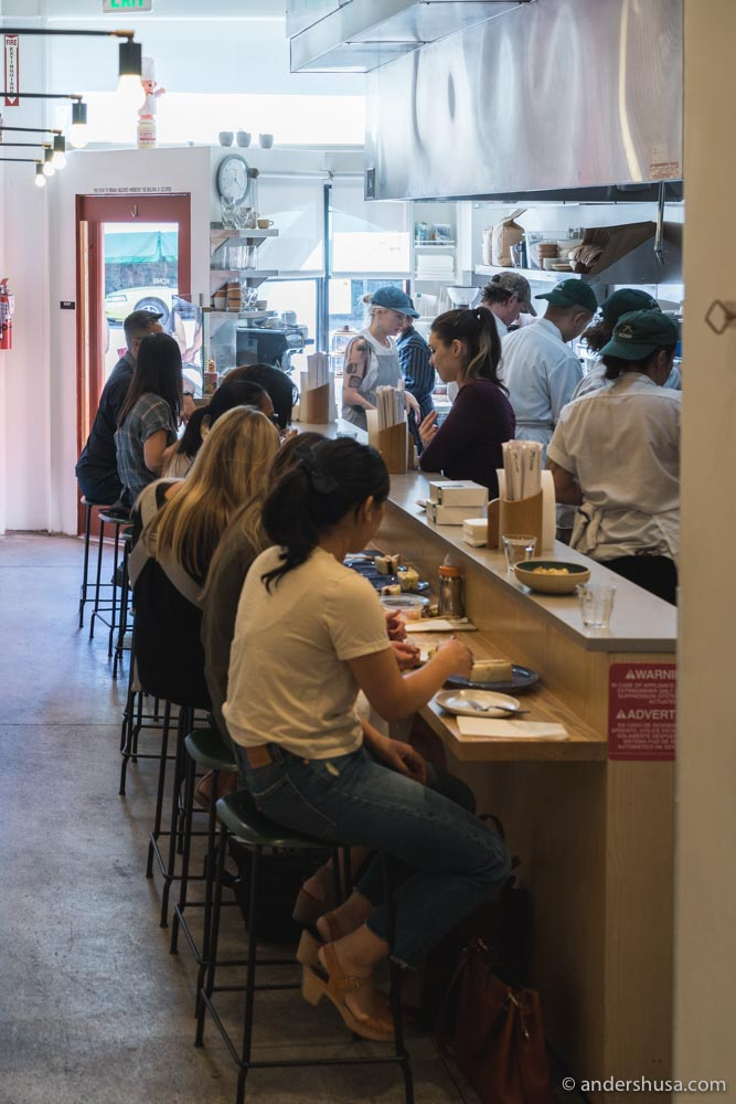 This tiny restaurant has only ten seats at the counter.