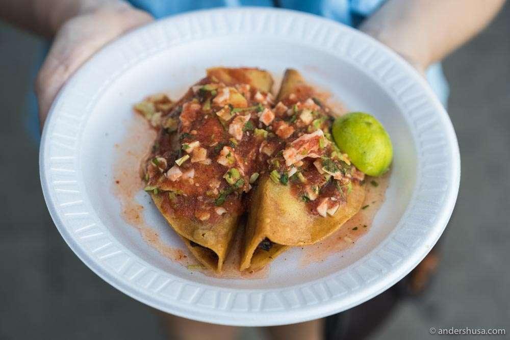 The legendary tacos dorados de camarones.