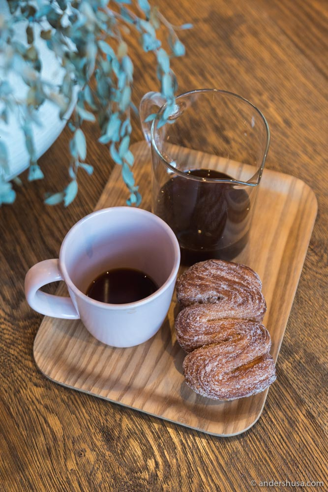 A Canyon coffee Ethiopian pour-over, with a Friends and Family pastry on the side.