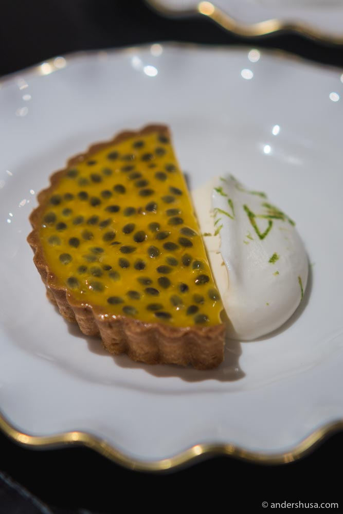 A refreshing tart, made with passionfruit from chef Dave's backyard.