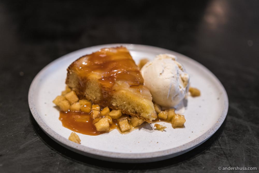 Apple cake and ice cream – Sprinkles founder Candace Nelson is the pastry chef.