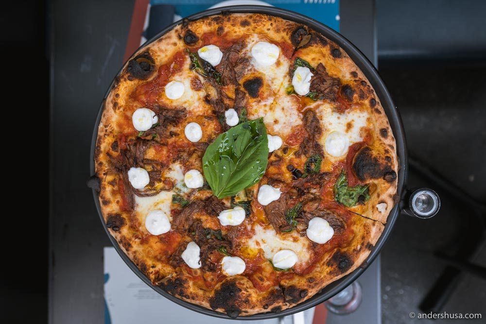 Meat lovers will love the braised short rib pizza!