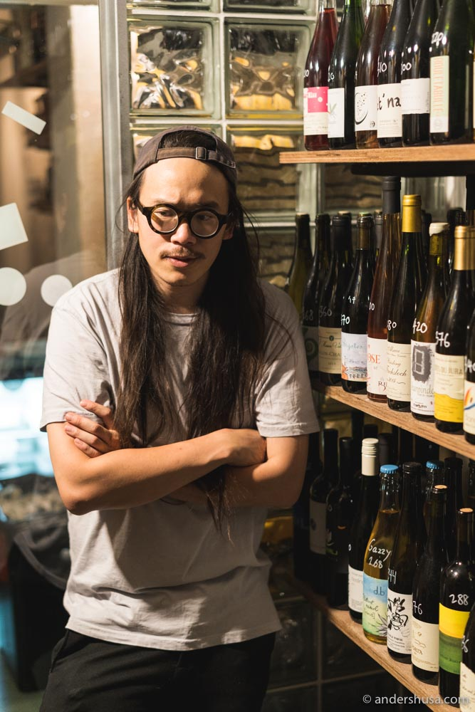 Passionate wine lover, Martin Ho, showing us some of his collection.